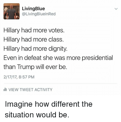 Memes, Blue, and Trump: Living Blue  @Living BlueinRed  Hillary had more votes.  Hillary had more class.  Hillary had more dignity  Even in defeat she was more presidential  than Trump will ever be.  2/17/17, 8:57 PM  ill VIEW TWEET ACTIVITY Imagine how different the situation would be.