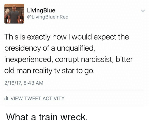 Memes, Old Man, and Blue: Living Blue  Living BlueinRed  This is exactly how would expect the  presidency of a unqualified,  inexperienced, corrupt narcissist, bitter  old man reality tv star to go.  2/16/17, 8:43 AM  III VIEW TWEET ACTIVITY What a train wreck.