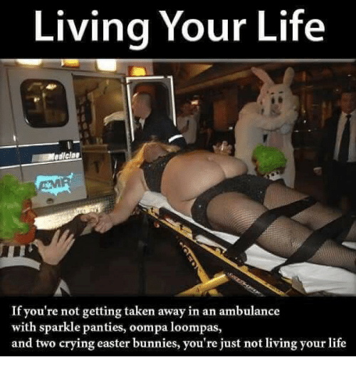 Bunnies, Crying, and Easter: Living Your Life  AMR  If you're not getting taken away in an ambulance  with sparkle panties, oompa loompas,  and two crying easter bunnies, you're just not living your life