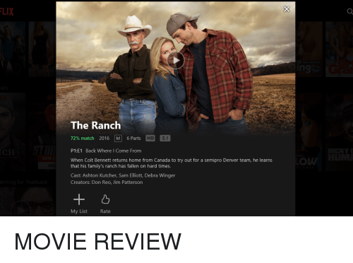 Canada, Denver, and Home: LIX  0  n9  The Ranch  72% match 2016   M  6 Parts  P1:E1 Back Where I Come From  When Colt Bennett returns home from Canada to try out for a semipro Denver team, he learns  D 5.1  .C  OW  that his family's ranch has fallen on hard times.  Cast: Ashton Kutcher, Sam Elliott, Debra Winger  Creators: Don Reo, Jim Patterson  My List  Rate