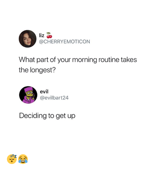 What, Liz, and Get: liz  @CHERRYEMOTICON  What part of your morning routine takes  the longest?  evi  @evilbart24  Deciding to get up 😴😂