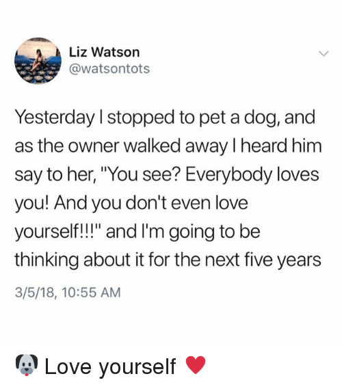 "Love, Memes, and 🤖: Liz Watson  @watsontots  Yesterday I stopped to pet a dog, and  as the owner walked away I heard him  say to her, ""You see? Everybody loves  you! And you don't even love  yoursef!l"" and I'm going to be  thinking about it for the next five years  3/5/18, 10:55 AM 🐶 Love yourself ♥️"