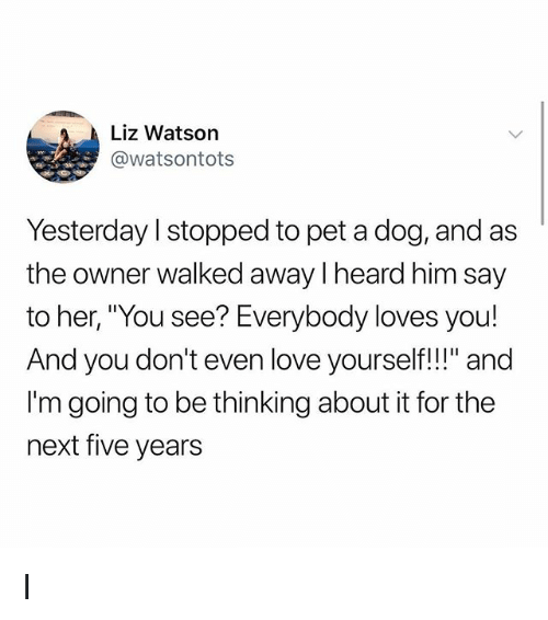 "Love, Memes, and 🤖: Liz Watson  @watsontots  Yesterday l stopped to pet a dog, and as  the owner walked away I heard him say  Ve  And you don't even love yourself!!"" and  I'm going to be thinking about it for the  next five years I"