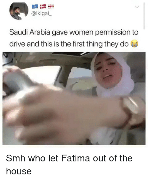 Smh, Drive, and House: @lkigai  Saudi Arabia gave women permission to  drive and this is the first thing they do Smh who let Fatima out of the house