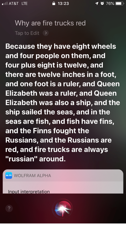 Ll At T Lte 1323 Why Are Fire Trucks Red Tap To Edit Because They