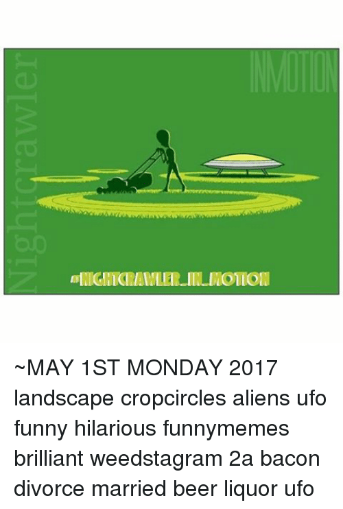 Beer, Funny, and Memes: ll OILOMITirunAIDllDlllo ~MAY 1ST MONDAY 2017 landscape cropcircles aliens ufo funny hilarious funnymemes brilliant weedstagram 2a bacon divorce married beer liquor ufo