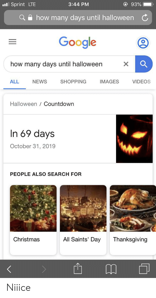 How Many Days Till Christmas 2019.Ll Sprint Lte 93 344 Pm How Many Days Until Halloween