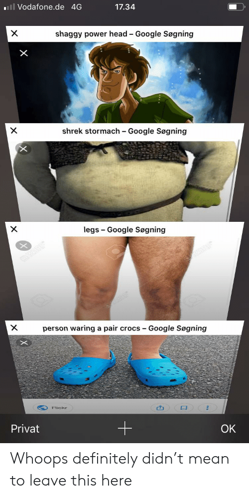 Crocs, Definitely, and Google: ll Vodafone.de 4G  17.34  X  shaggy power head Google Søgning  -  shrek stormach Google Søgning  X  legs Google Søgning  X  person waring a pair crocs -  Google Søgning  Flickr  Privat  OK  X  X Whoops definitely didn't mean to leave this here