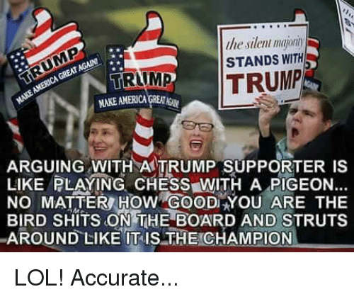 Arguing, Memes, and Birds: lliesilenl majonn  STANDS WITH  GREAT  TRUMP  TRUMP  ARGUING WITH TRUMP SUPPORTER LIKE PLAYING CHESS WITH A PIGEON...  NO MATTER HOW YOU ARE THE  BIRD SHITS ON THE BOARD AND STRUTS  AROUND LIKE ITIS THE CHAMPION LOL! Accurate...