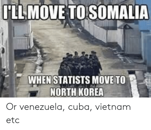 Memes, North Korea, and Cuba: LLMOVE TO SOMALIA  WHEN STATISTS MOVE TO  NORTH KOREA Or venezuela, cuba, vietnam etc
