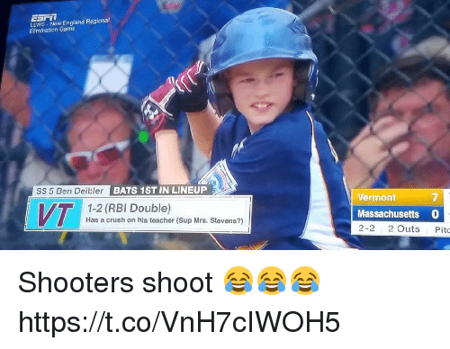 Crush, England, and Memes: LLWS New England Regional  Elimination Game  SS 5 Ben DeiblerE  BATS 1ST IN LINEUP  Vermont  7  VT  1-2 (RBI Double)  Has a crush on his teacher (Sup Mrs. Stevens?)  Massachusetts 0  2-2 2 Outs Pitc Shooters shoot 😂😂😂 https://t.co/VnH7cIWOH5
