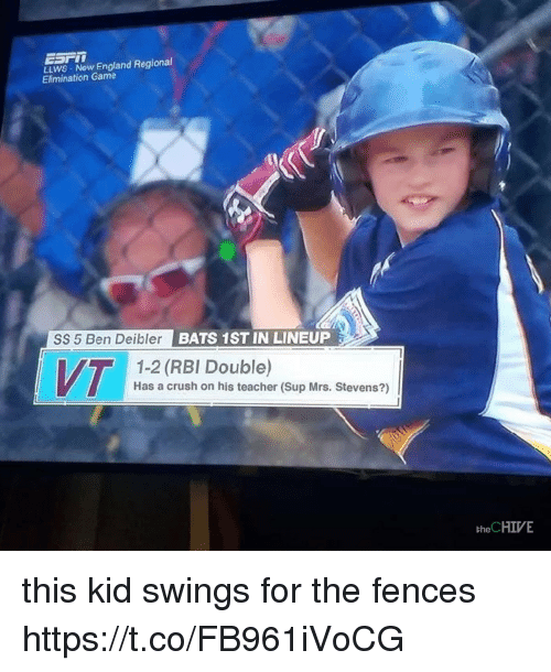 Crush, England, and Teacher: LLWS Now England Regional  Elimination Game  SS 5 Ben Deibler BATS  1ST IN LINEUP  1-2 (RBI Double)  Has a crush on his teacher (Sup Mrs. Stevens?)  the CHIVE this kid swings for the fences https://t.co/FB961iVoCG