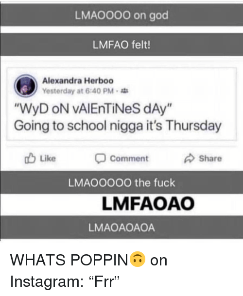 "God, Instagram, and School: LMAO000 on god  LMFAO felt!  Alexandra Herboo  Yesterday at 6:40 PM  WyD oN vAlEnTiNeS dAy  Going to school nigga it's Thursday  Like  Comment  Share  LMAOOOOO the fuck  LMFAOAO  LMAOAOAOA WHATS POPPIN🙃 on Instagram: ""Frr"""