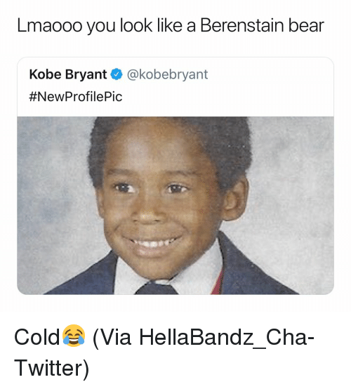 Basketball, Kobe Bryant, and Nba: Lmaooo you look like a Berenstain bear  Kobe Bryant @kobebryant  Cold😂 (Via ‪HellaBandz_Cha-Twitter)
