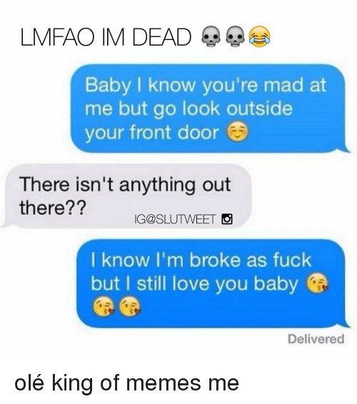 Love, Memes, and Mad: LMFAO IM DEAD  Baby I know you're mad at  me but go look outside  your front door  There isn't anything out  there??  IG@SLUTWEET  I know I'm broke as fuck  but I still love you baby  Delivered olé king of memes me
