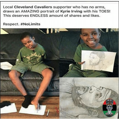 Cleveland Cavaliers, Kyrie Irving, and Memes: Local Cleveland Cavaliers supporter who has no arms,  draws an AMAZING portrait of Kyrie Irving with his TOES!  This deserves ENDLESS amount of shares and likes.  Respect.