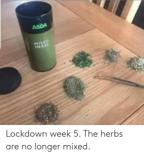 Herbs, Lockdown, and  No: Lockdown week 5. The herbs are no longer mixed.