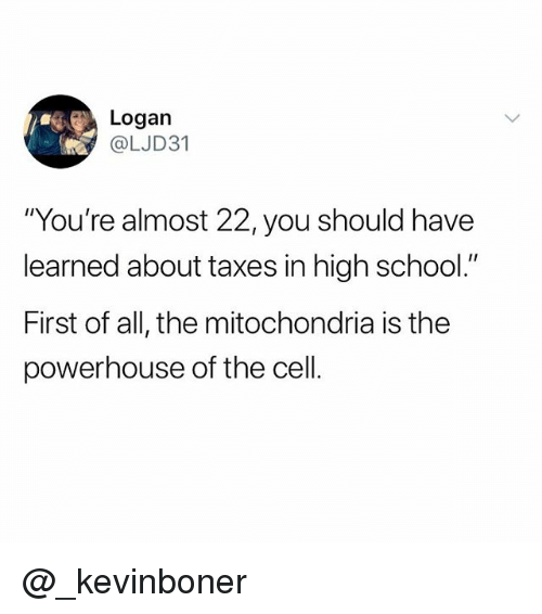 "Funny, Meme, and School: Logan  @LJD31  ""You're almost 22, you should have  learned about taxes in high school.""  First of all, the mitochondria is the  powerhouse of the cell. @_kevinboner"