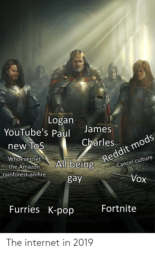 Amazon, Fire, and Internet: Logan  YouTube's Paul  James  Reddit mods  Cancel culture  Charles  new ToS  Whoever set  the Amazon  rainforest on-fire  All being  gay  Vox  Furries K-pop  Fortnite The internet in 2019