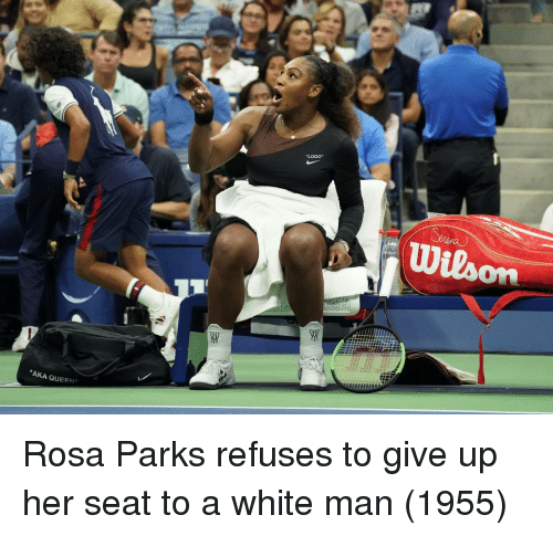 "Rosa Parks, Queen, and White: ""LOGO""  ""AKA QUEEN"" Rosa Parks refuses to give up her seat to a white man (1955)"
