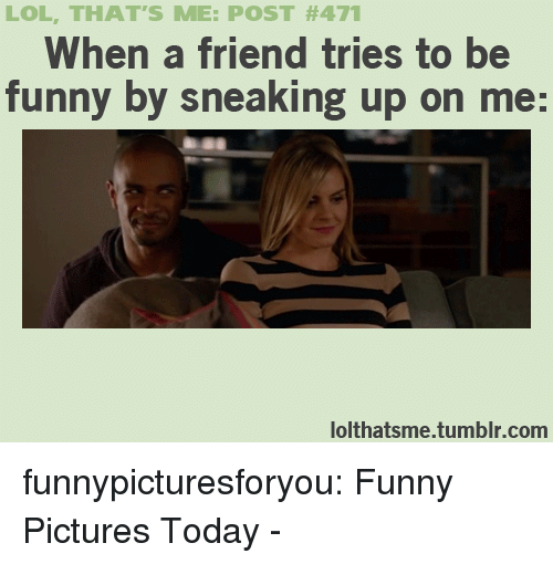 Funny, Lol, and Tumblr: LOL, THAT'S ME: POST #471  When a friend tries to be  funny by sneaking up on me:  lolthatsme.tumblr.com funnypicturesforyou:  Funny Pictures Today -
