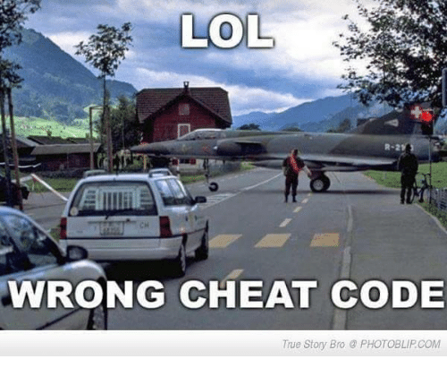 Lol, Memes, and True: LOL  WRONG CHEAT CODE  True Story Bro PHOTOBLIPCOM