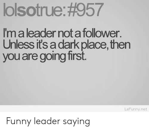 Funny, Net, and Dark: lolsotrue: #957  Im a leader not a follower  Unless its a dark place, then  you are going first  LeFunny.net Funny leader saying