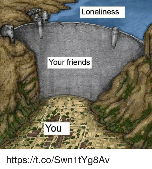 Friends, Memes, and Loneliness: Loneliness  Your friends https://t.co/Swn1tYg8Av