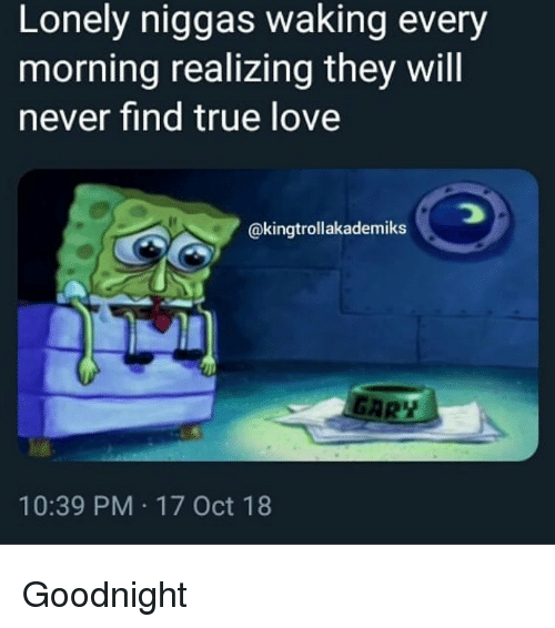 Funny, Love, and True: Lonely niggas waking every  morning realizing they will  never find true love  @kingtrollakademiks  GAR  10:39 PM 17 Oct 18 Goodnight