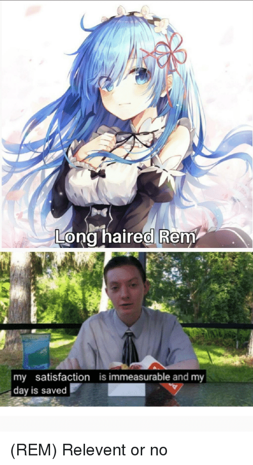 Anime, Rem, and Satisfaction: Long haired Rem  my satisfaction  day is saved  is immeasurable and my