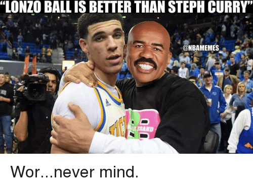 """Memes, 🤖, and Ball: """"LONZO BALL IS BETTER THAN STEPH CURRY'  @NBAMEMES Wor...never mind."""