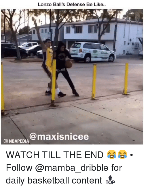 Basketball, Be Like, and Memes: Lonzo Ball's Defense Be Like.  rT  3 NBAPED@maxisnicee WATCH TILL THE END 😂😂 • Follow @mamba_dribble for daily basketball content 🔝