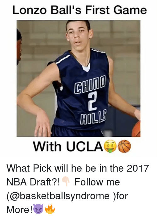 Memes, Nba Draft, and 🤖: Lonzo Ball's First Game  HILL  With UCLA What Pick will he be in the 2017 NBA Draft?!👇🏻 Follow me (@basketballsyndrome )for More!😈🔥