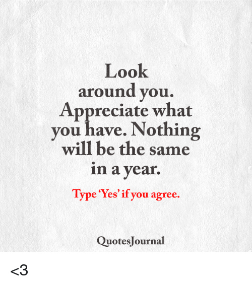 Look Around You Appreciate What You Have Nothing Will Be The Same In