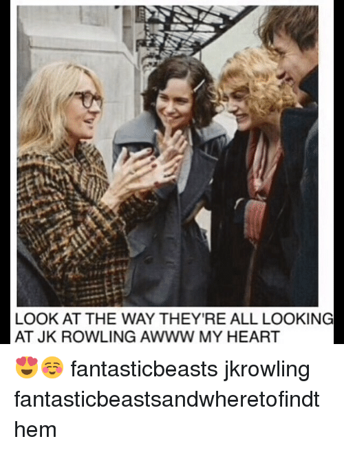 Memes, Heart, and Awww: LOOK AT THE WAY THEY'RE ALL LOOKING  AT JK ROWLING AWWW MY HEART 😍☺️ fantasticbeasts jkrowling fantasticbeastsandwheretofindthem