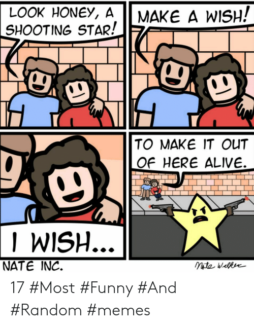 Alive, Funny, and Memes: LOOK HONEY, A  SHOOTING STAR!  MAKE A WISH!  TO MAKE IT OUT  OF HERE ALIVE.  I WISH  NATE INC. 17 #Most #Funny #And #Random #memes