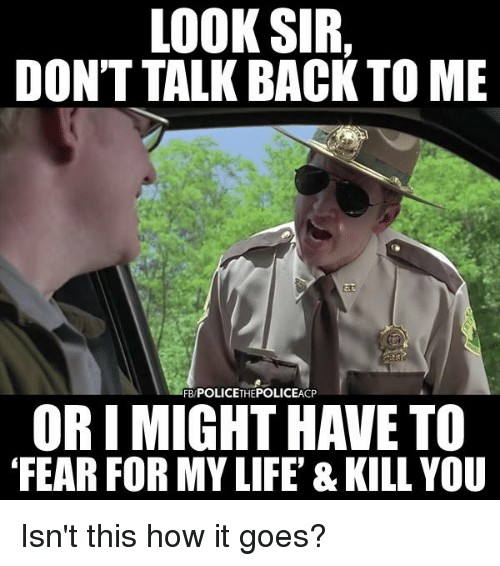 Image result for police fear for my life meme