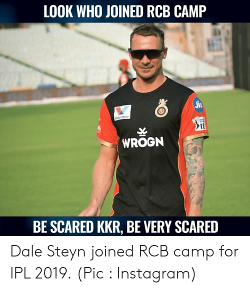 Instagram, Memes, and Dale Steyn: LOOK WHO JOINED RCB CAMP  IL  WROGN  BE SCARED KKR, BE VERY SCARED Dale Steyn joined RCB camp for IPL 2019.  (Pic : Instagram)