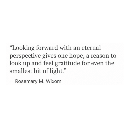 """Hope, Reason, and Looking: """"Looking forward with an eternal  perspective gives one hope, a reason to  look up and feel gratitude for even the  smallest bit of light.""""  95  Rosemary M. Wixom"""