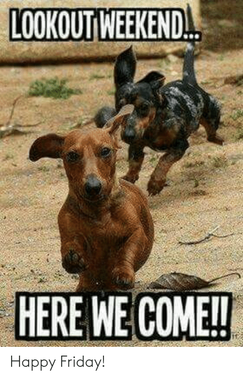Lookout Weekend Here We Come Happy Friday Friday Meme On Me Me