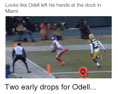 Nfl, Miami, and For: Looks like Odell left his hands at the dock in  Miami Two early drops for Odell...