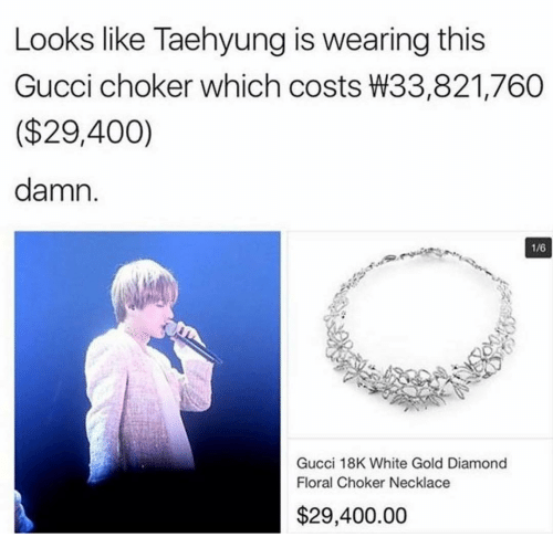 6da514c28cba10 Gucci, Memes, and Diamond: Looks like Taehyung is wearing this Gucci choker  which