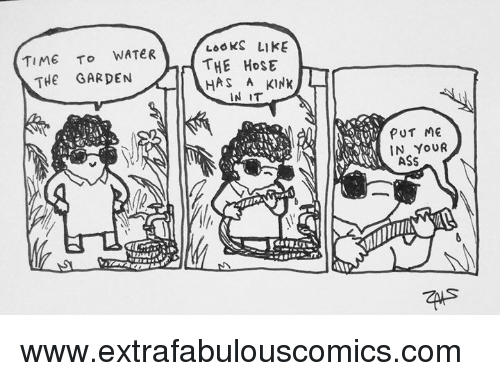 Memes, Time, and Water: LoOKS LIKE  THE HoStE  HAS A KINK  TIME To WATeR  THE GARDEN  IN IT  PUT ME  IN YoUR www.extrafabulouscomics.com