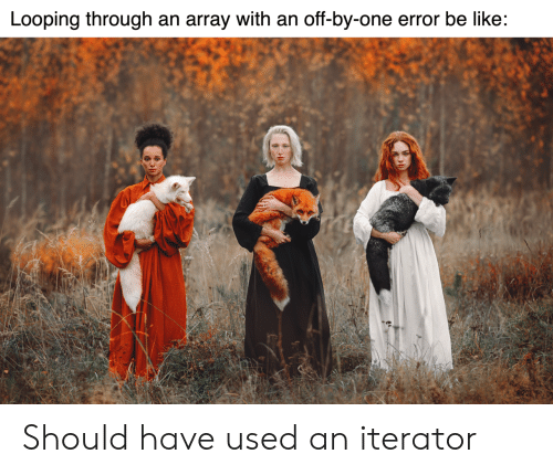 Be Like, One, and Array: Looping through an array with an off-by-one error be like: Should have used an iterator