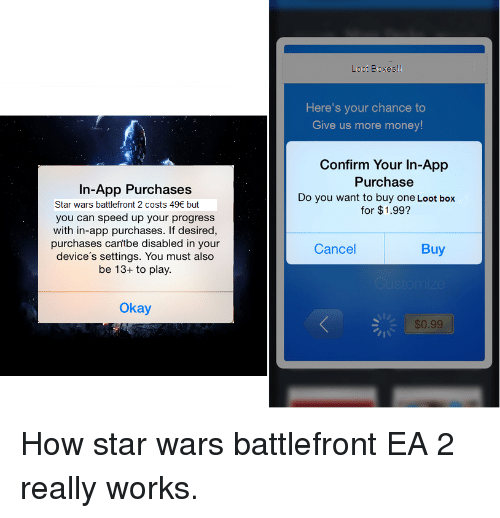 Money, Star Wars, and Okay: Loot Boxesl!  Here's your chance to  Give us more money  Confirm Your In-App  Purchase  In-App Purchases  Do you want to buy one Loot box  Star wars battlefront 2 costs 49 but  for $1.99?  you can speed up your progress  with in-app purchases. If desired,  purchases cantbe disabled in your  device's settings. You must also  be 13+ to play.  Cancel  Buy  Okay  $0.99