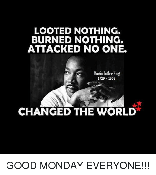 Looted Nothing Burned Nothing Attacked No One Martin Luther King