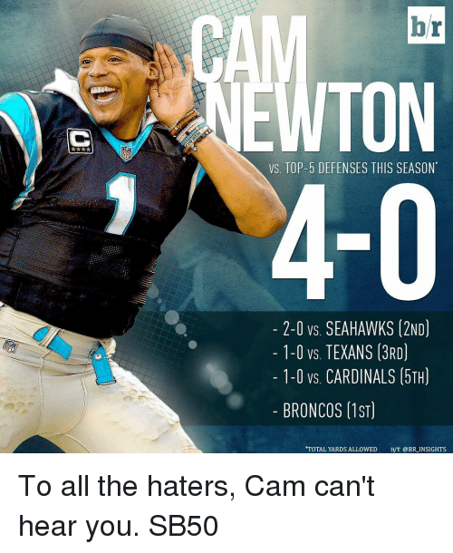 Sports, Broncos, and Cardinals: lor  VS, TOP-5 DEFENSES THIS SEASON  2-0 vs SEAHAWKS 12ND  1-0 vs. TEXANS (3RD)  1-0 vs. CARDINALS (5TH)  BRONCOS (1ST)  TOTAL YARDS ALLOWED  H/T @BR INSIGHTS To all the haters, Cam can't hear you. SB50
