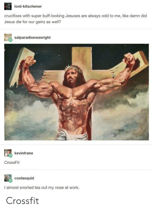 Jesus, Work, and Crossfit: lord-kitschener  crucifixes with super buff-looking Jesuses are always odd to me, like damn did  Jesus die for our gainz as well?  salparadisewasright  kevinfrane  CrossFit  coelasquid  I almost snorted tea out my nose at work. Crossfit