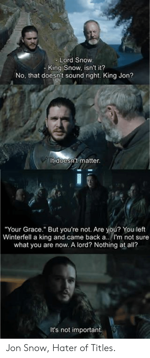 "Dank, Jon Snow, and Snow: Lord Snow  - King Snow, isn't it?  No, that doesn't sound right. King Jon?  It doesn't matter.  Your Grace."" But you're not. Are you? You left  Winterfell a king and came back a.. I'm not sure  what you are now. A lord? Nothing at all?  It's not important Jon Snow, Hater of Titles."