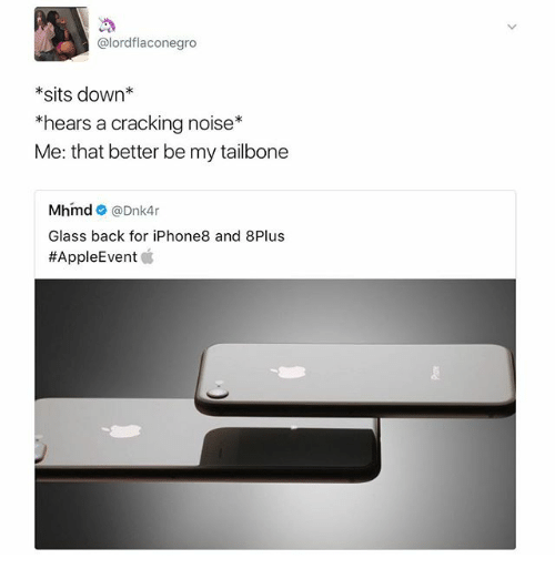 Dank Memes, Back, and Glass: @lordflaconegro  *sits down*  *hears a crackina noise*  Me: that better be my tailbone  Mhmd@Dnk4r  Glass back for iPhone8 and 8Plus